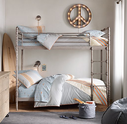 Industrial Steel Pipe Twin Over Twin Bunk Bed