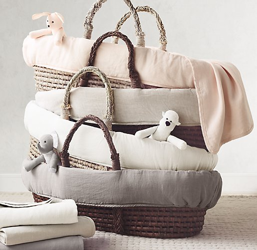 Washed Organic Linen Moses Basket Bedding Amp Ash Basket