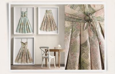 elbise-kagit-harita-pile-duvar-panosu-vintage