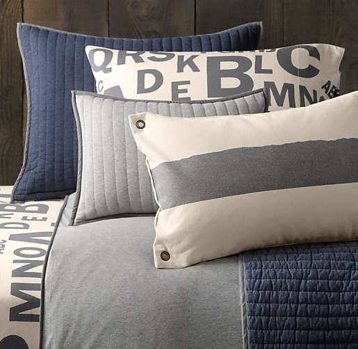 European Heathered Jersey & European Jersey Letter Bedding Collection