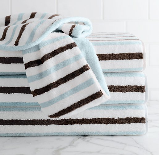 Contrast Stripe Bath Towels