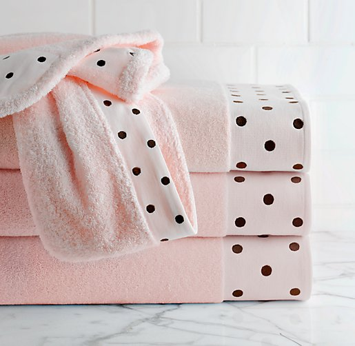 Embroidered Dot Bath Towels
