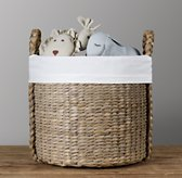 White Bordered Seagrass Oversized Toy Basket Liner