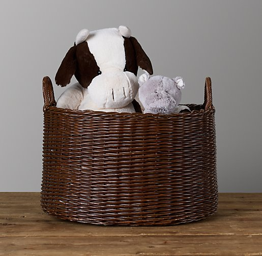 Rattan Oval Toy Basket