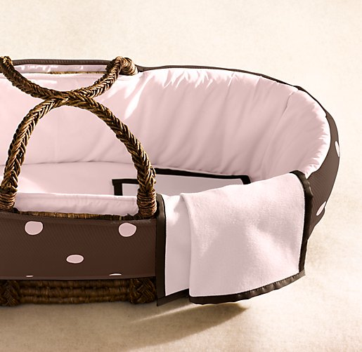 European Dot Matelassé Moses Basket Bedding & Espresso Basket Set