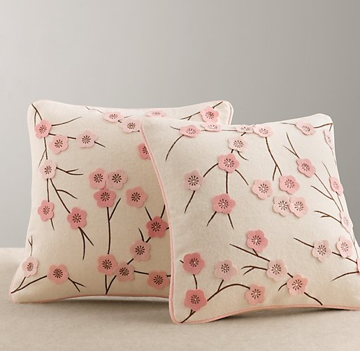 Cherry Blossom Wool Felt Pillow Cover & Insert