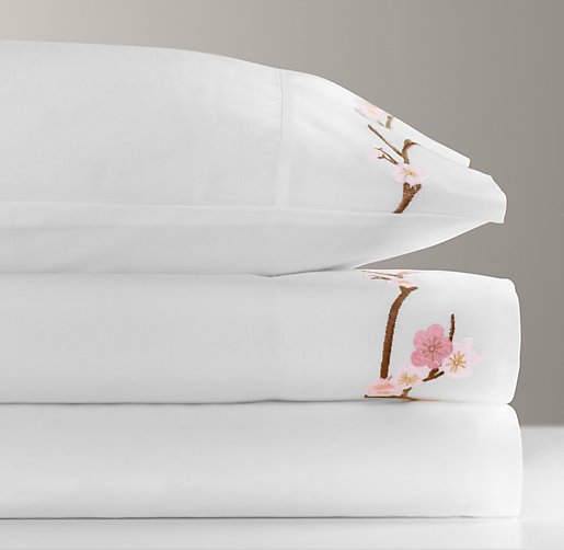 European Embroidered Cherry Blossom Sheet Set