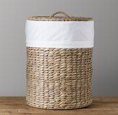 White Bordered Seagrass Hamper Liner