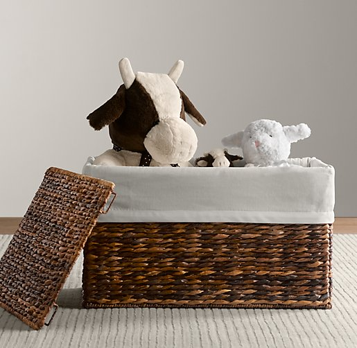 White Bordered Seagrass Closed Toy Basket Liners