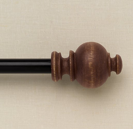 Weathered Wood Ball Finials & Rod