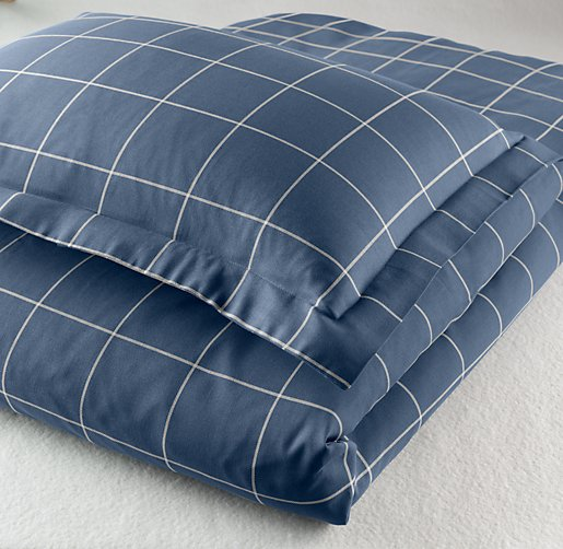 European Open Plaid Sham