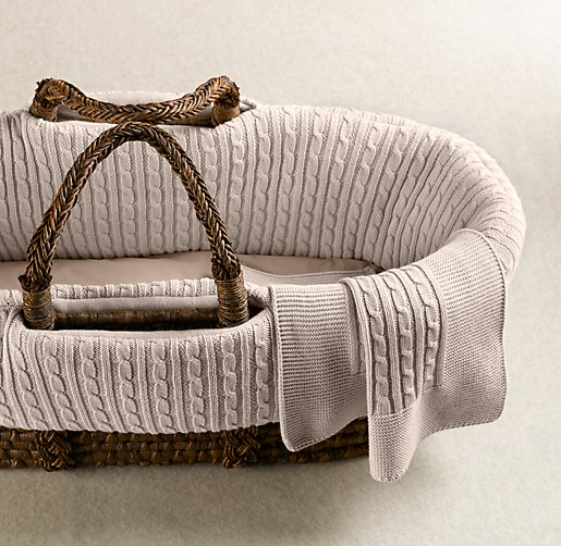 Color Preview Unavailable Cable Knit Moses Basket Bedding
