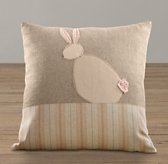 Applique Bunny Silhouette Pillow Cover & Insert