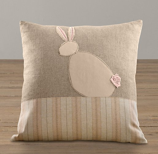 Applique Bunny Silhouette Pillow Cover