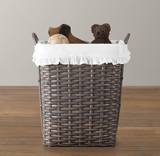 Ruffled Cotton Weathered Rattan Hamper Liner
