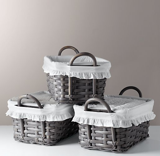 Ruffled Cotton Weathered Rattan Shelf Basket Liner