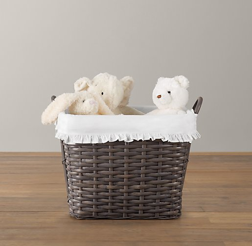 Ruffled Cotton Weathered Rattan Floor Basket Liner