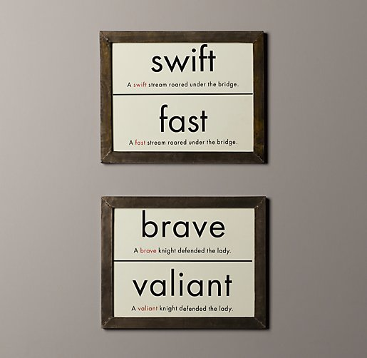 Vintage Synonym Flashcard Art Set of 2