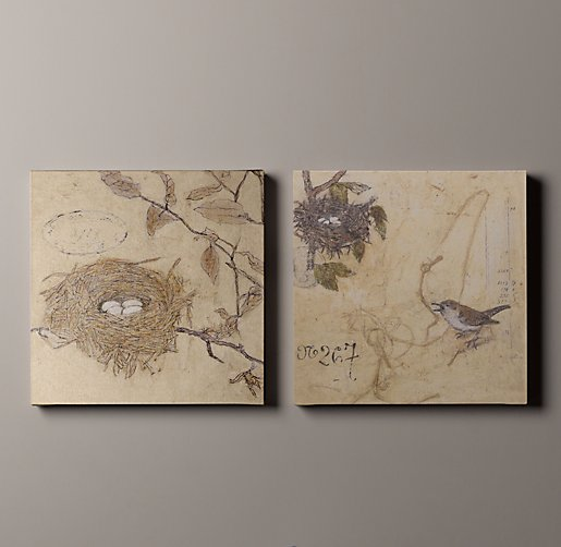 Vintage French Bird & Nest Art Set of 2