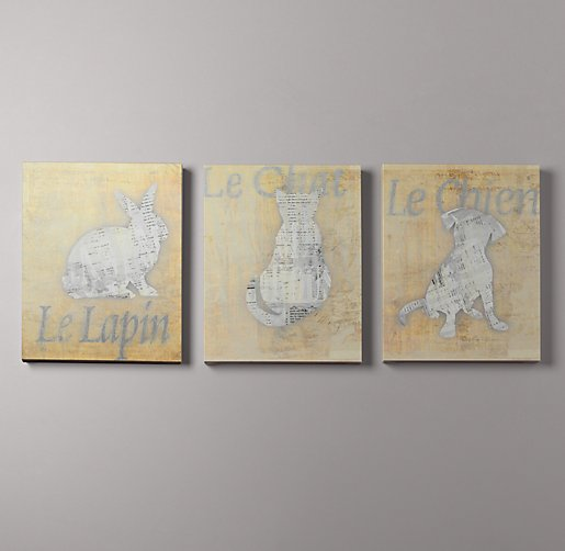French Animal Art Set of 3