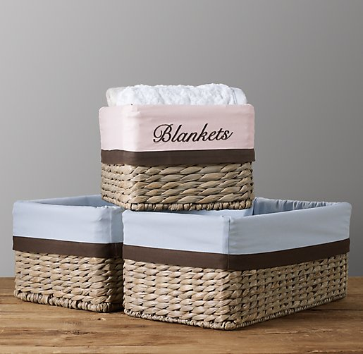 Chocolate Bordered Seagrass Shelf Basket Liners