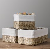 Textured Cotton Seagrass Shelf Basket Liner
