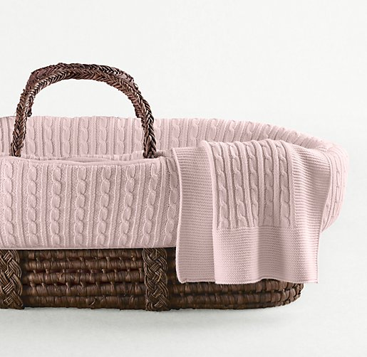 Cable Knit Moses Basket Bedding & Espresso Basket Set