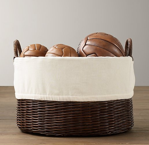 Textured Cotton Rattan Oval Toy Basket Liner