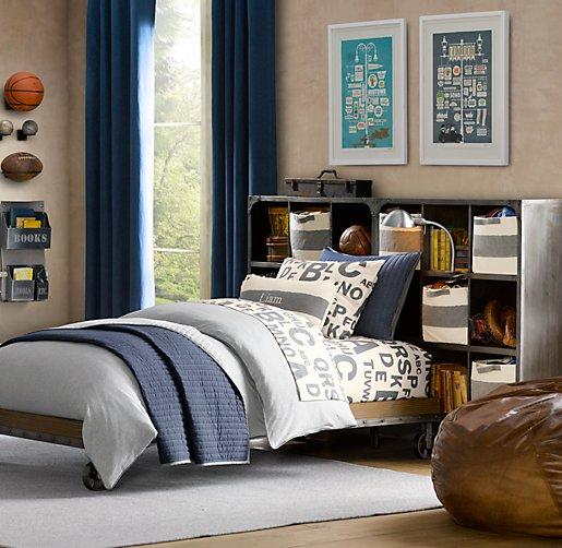 Industrial bedroom with platform bed on wheels
