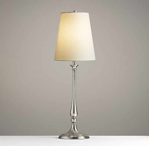 Candlestick Table Lamp Antique Pewter