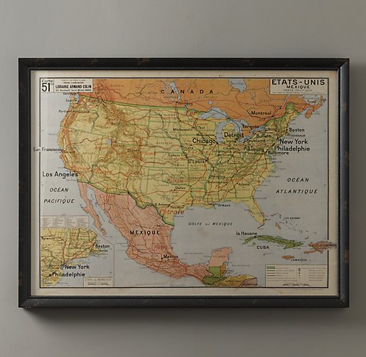 Vintage French USA Map