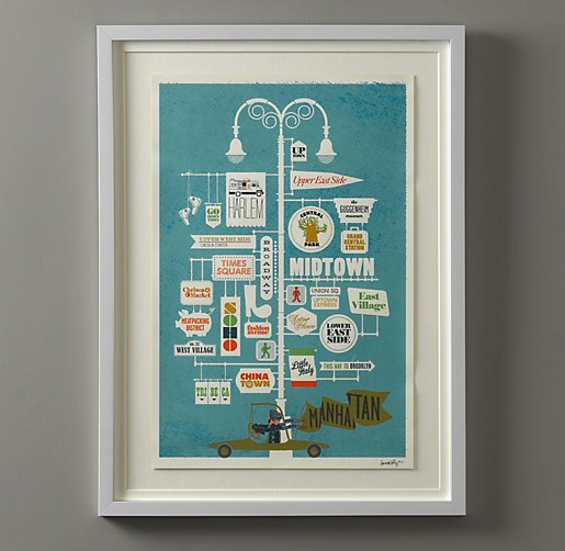 Vintage City Print Art- Manhattan