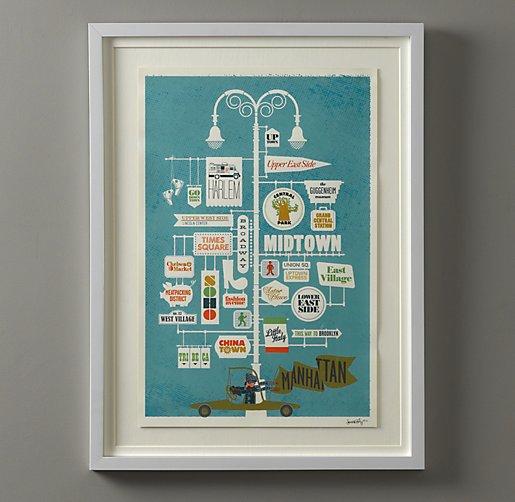 Vintage City Print Art- Manhattan