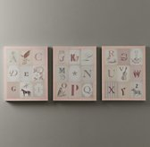 Vintage Alphabet Art Set of 3