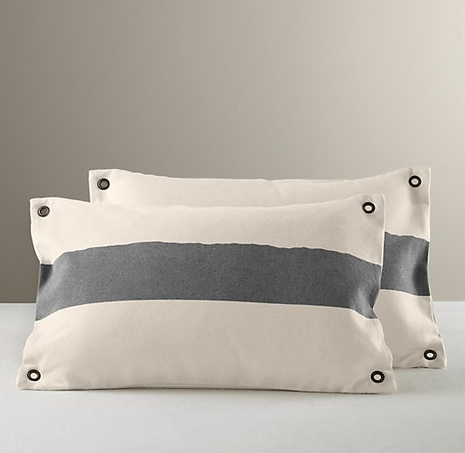 Vintage Canvas Grommet Pillow Cover