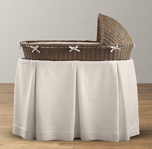 European Vintage-Washed Diamond Matelassé Bassinet Bedding