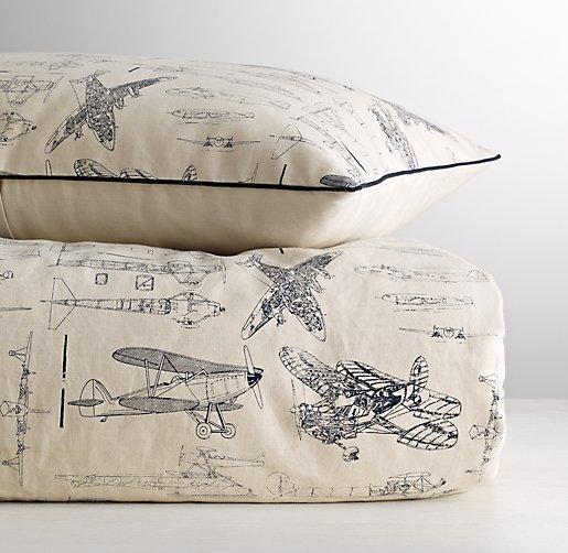 Vintage airplane blueprint duvet cover for Under wraps blueprint covers