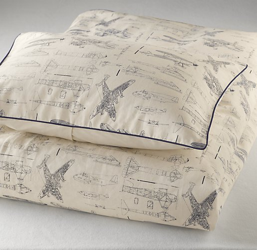 Vintage Airplane Blueprint Sham