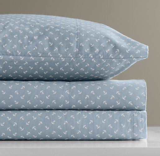 European Anchor Print Toddler Pillowcase