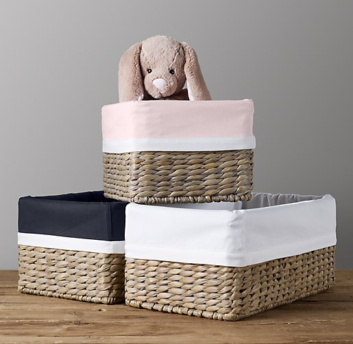 White Bordered Seagrass Shelf Basket Liners