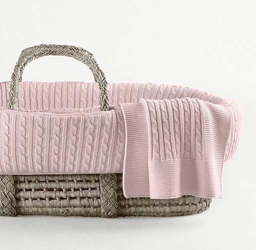 Cable Knit Moses Basket Bedding & Ash Basket Set