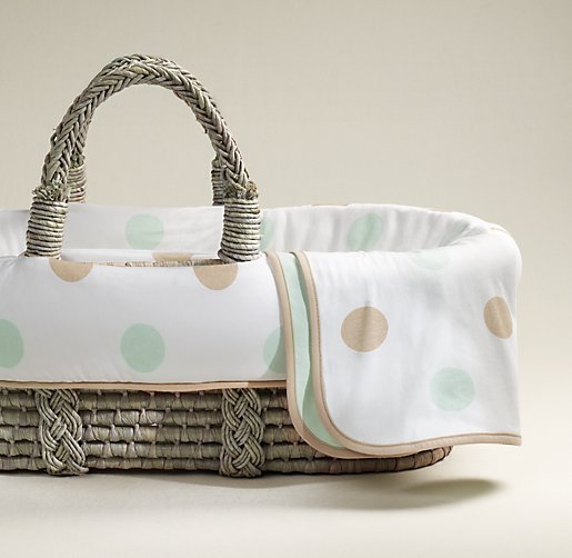 Organic Jersey Moses Basket Bedding & Ash Basket Set