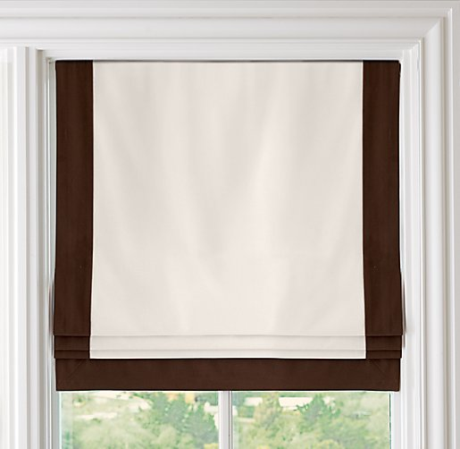 Bordered Cotton Canvas Cordless Roman Shade