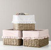 Ruffled Cotton Seagrass Shelf Basket Liner