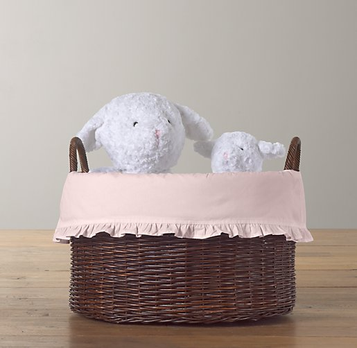 Ruffled Cotton Rattan Oval Toy Basket Liner