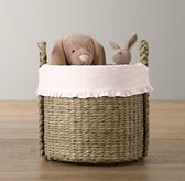 Ruffled Cotton Seagrass Oversized Toy Basket Liner