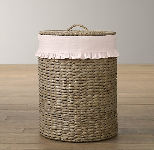 Ruffled Cotton Seagrass Hamper Liner