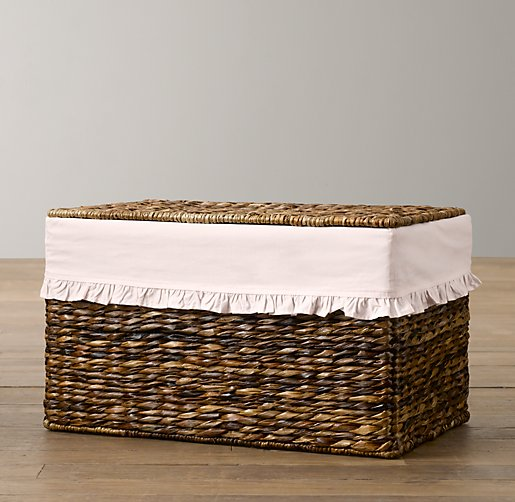 Ruffled Cotton Seagrass Closed Toy Basket Liners