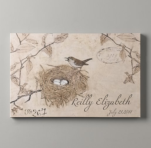 Personalized Vintage French Bird's Nest Art
