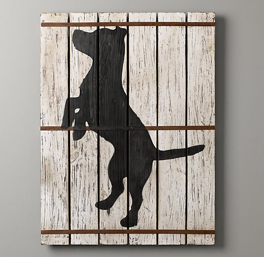 Wood-Plank Dog Silhouette Art